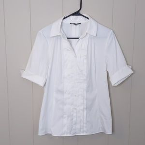 Lafayette 148 New York White Pleated Button Down